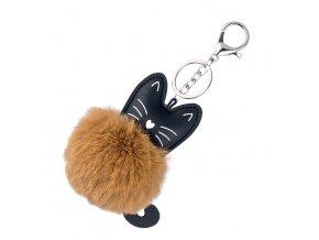 Chlpatý prívesok na dámsku kabelku, hnedo čierna mačka (1)