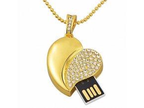 USB náhrdelník pre ženu, srdce zlatej farby s čírymi zirkónmi 8 GB (2)