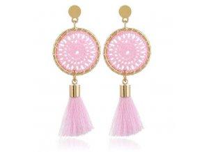 Náušnice pre ženu so strapcom, lapač snov ružovej farby bižutéria