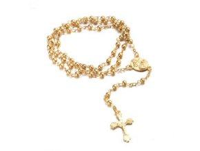 Ruženec na krk s krížom, Ježíš Kristus lesklá zlatá farba