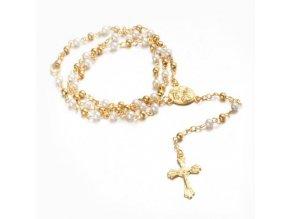 Ruženec na krk s krížom, Ježíš Kristus perličky a guličky zlatej farby