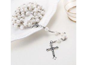 Ruženec na krk s krížom, Ježíš Kristus perleťová farba, ruža (5)