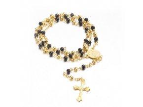 Ruženec na krk s krížom, Ježíš Kristus guličky zlatej a čiernej farby (2)