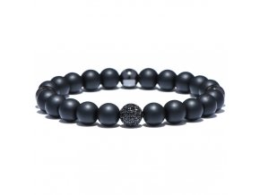 Pánsky náramok, čierna zirkónová gulička, čierne korálky bižutéria (1)