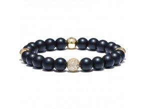 Pánsky náramok, zirkónová gulička zlatej farby, čierne korálky bižutéria