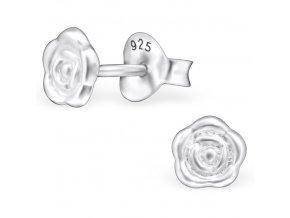 Detské strieborné náušnice 925, drobná lesklá ruža