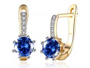 Náušnice pre ženu, okrúhly modrý kamienok, zlatá farba bižutéria (1)