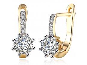 Náušnice pre ženu, okrúhly číry kamienok, zlatá farba bižutéria