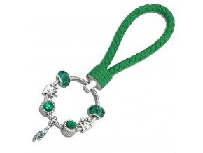 Dámska kľúčenka s príveskami, zelená farba, hrad, kožená rukoväť (1)