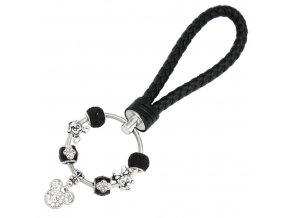 Dámska kľúčenka s príveskami, čierna farba, Mickey a Minnie, kožená rukoväť (1)
