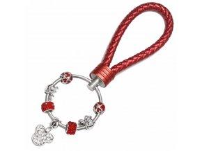 Dámska kľúčenka s príveskami, červená farba, Mickey a Minnie, kožená rukoväť (1)