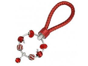 Dámska kľúčenka s príveskami, červená farba, jablko, kožená rukoväť (1)