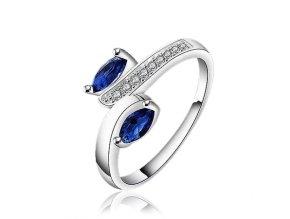 Dámsky prsteň so zirkónmi, kráľovsky modré kamienky, bižutéria