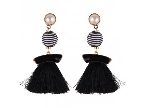 Dámske náušnice so strapcami, čierna glazúra, biela farba bižutéria