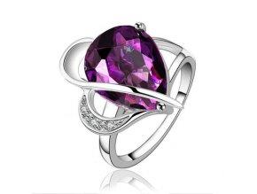 Prsteň pre ženu, fialová slza, strieborná farba, bižutéria
