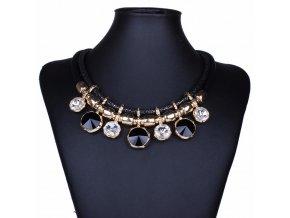 Dámsky bižutéria náhrdelník, čierna farba a kryštály