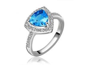 Zirkónový prsteň pre ženu, modrý kamienok, bižutéria