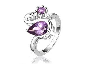 Dámsky prsteň striebornej farby, labuť, slza, kamienok, bižutéria