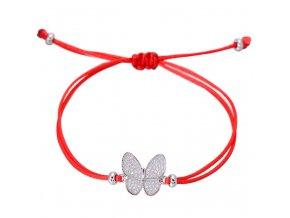 Červený náramok, motýľ striebornej farby so zirkónmi bižutéria (1)