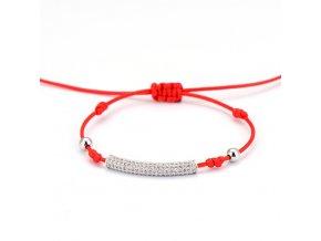 Červený náramok, valček striebornej farby so zirkónmi bižutéria (1)