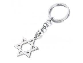 Prívesok na kľúče , Dávidova hviezda z ocele, strieborná farba