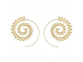 Náušnice pre ženu, Boho špirála zlatej farby, čipkovaný vzor bižutéria (1)