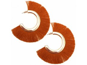 Dámske strapcové náušnice, oranžová a zlatá farba, kruhy bižutéria (1)