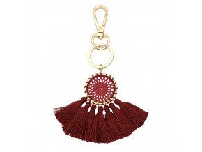 Kľúčenka pre ženu so strapcami, lapač snov červenej farby