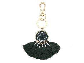Kľúčenka pre ženu so strapcami, lapač snov zelenej farby