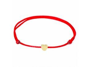 Červený náramok, malé hladké srdce zlatej farby bižutéria