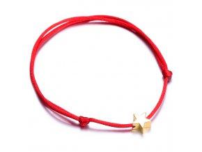 Červený náramok, malá hladká hviezda zlatej farby bižutéria