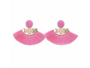 Dámske náušnice so strapcami, ružová a zlatá farba bižutéria