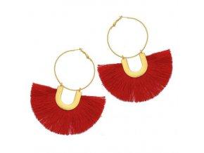 Dámske visiace náušnice so strapcom, červená a zlatá farba bižutéria (1)