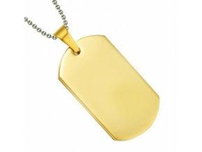 Prívesok vojenská známka zlatej farby z chirurgickej ocele 50x28 mm