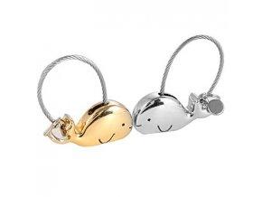 Kľúčenky pre dvoch, veľryby a lanko, zlatá a strieborná farba (1)