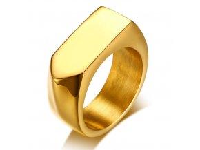 Pánsky pečatný prsteň z chirurgickej ocele, lesklá zlatá farba (1)