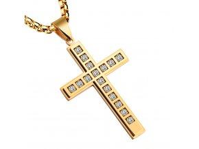 Pánska retiazka s väčším krížom, oceľ zlatej farby, číre zirkóny (1)