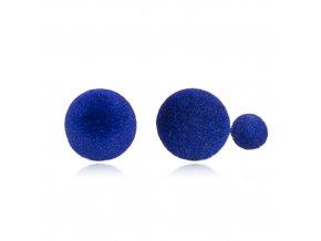 Dvojité guličkové náušnice, modrá farba, semiš, bižutéria