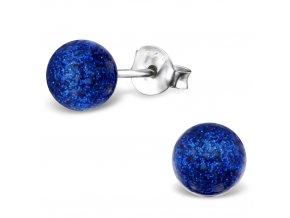 Dámske strieborné náušnice 925, modrá trblietavá perlička 6 mm