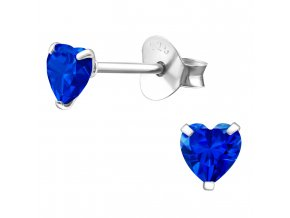 Dámske strieborné náušnice 925, kráľovsky modré zirkónové srdcia 4 mm