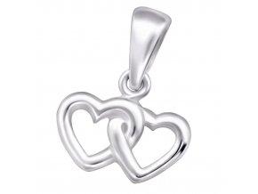 Malý dámsky prívesok zo striebra 925 na retiazku, dvojitá kontúra srdca
