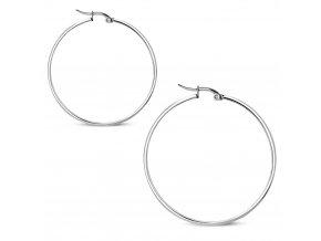 Náušnice kruhy pre ženu z ocele, strieborná farba 45 mm