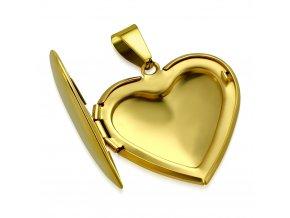 Medailón na fotky, 3D srdce z chirurgickej ocele, zlatá farba (1)
