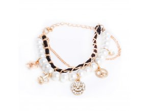 Dámsky náramok na ruku, zirkónová lebka, retiazka, perly, bižutéria