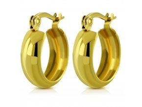 Hladké okrúhle náušnice pre ženu, chirurgická oceľ zlatej farby 12 mm