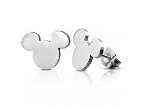 Dámske náušnice z chirurgickej ocele, Mickey Mouse striebornej farby