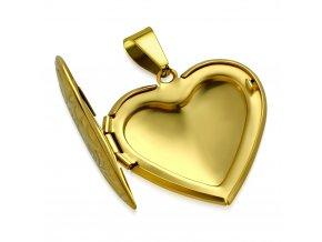 Medailón na fotky, 3D srdce z ocele, zlatá farba a gravírovanie (1)