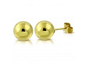 Dámske náušnice z ocele, zlatá farba, guličky 4 mm