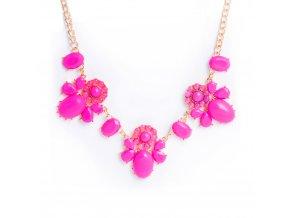Dámsky náhrdelník neonovo-ružovej farby, kvety, bižutéria