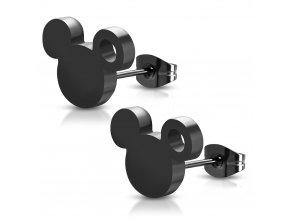 Náušnice z chirurgickej ocele, Mickey Mouse čiernej farby